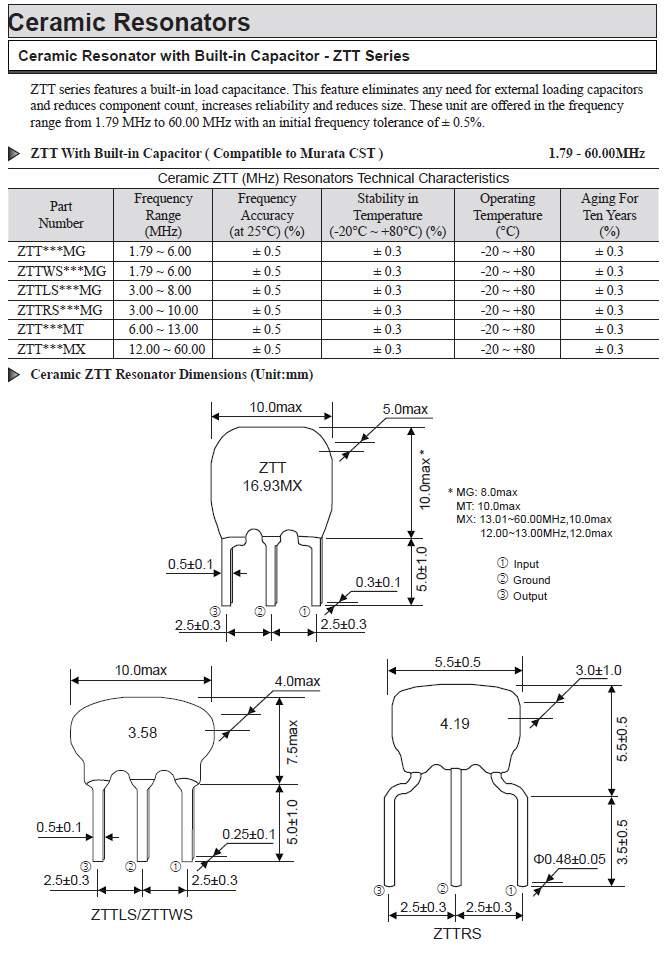 压电陶瓷谐振器